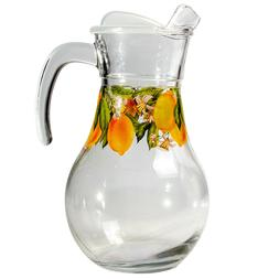 1.8 L Clear Glass Pitcher with Lid with Lemons Decal