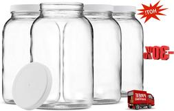 1-Gallon Glass Jar Wide Mouth with Airtight Plastic Lid Clea