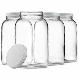1-Gallon Glass Jar Wide Mouth with Airtight Metal Lid Clear