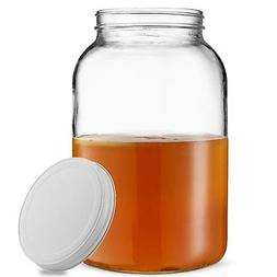 1-Gallon Glass Jar Wide Mouth with Airtight Metal Lid - USDA