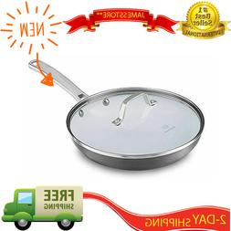 10 Inch Ceramic Nonstick Cooking Skillet Frying Pan With Lid