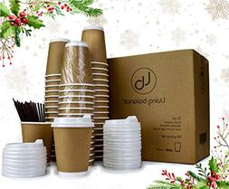 100 Disposable Paper Coffee Cups with Lids - 12 oz, Kraft Pa
