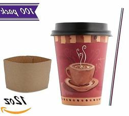12 oz Paper Coffee Cups with Dome Lids and Sleeves, Stirrer