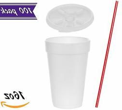 16 oz White Foam Cups with Lift'n'Lock Lids and BONUS Stirr
