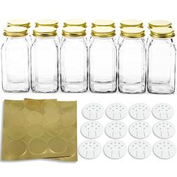 12 Deluxe Large Square Glass Spice Bottles 6 oz Jars with Go