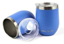 Summitier Insulated Wine Tumbler with Lid Stainless Steel Va