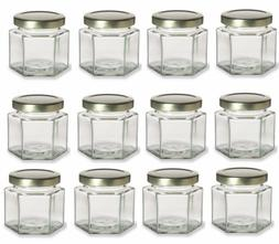 Nakpunar 12 pcs 4 oz Hexagon Glass Jars with Gold Lids Canni