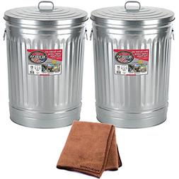 Behrens 1270 31-Gallon Trash Can with Lid, 2-Pack with Clean
