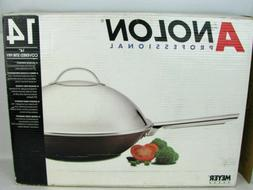 "Anolon 14"" Stir Fry Wok Pan with Dome Lid Hard Anodized Alum"