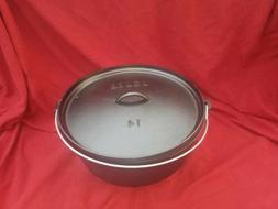 Lodge 14DCO Cast Iron 3 Footed Dutch Oven Camp Chuck Wagon P