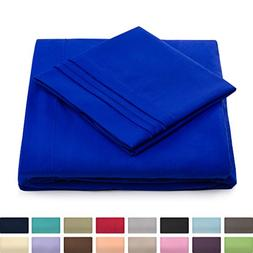 King Size Bed Sheets - Royal Blue Luxury Sheet Set - Deep Po