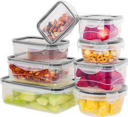 16 Pcs Plastic Food Storage Containers Set With Air Tight Lo