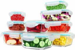 18 Pieces Glass Food Storage Container set with Airtight Lid