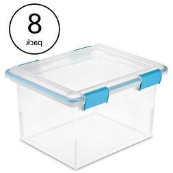 Sterilite 19334304 Clear 32 Quart Gasket Box with Clear Base