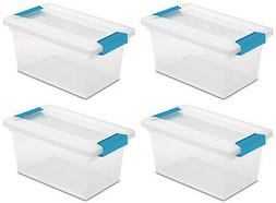 4 Pack) Sterilite 19628604 Medium Clip Box Clear Storage Tot