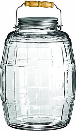 2.5 Gallon Glass Barrel Jar With Lid Vintage Pickle Canister