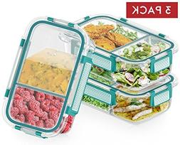 2-Compartment Glass Meal Prep Containers Microwavable with