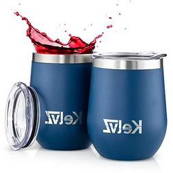 2 Pack Insulated Wine Tumbler with Lid Stemless Wine Glasses