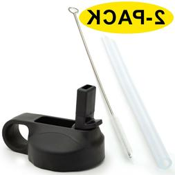 2-PACK Wide Mouth Straw Lids with Silicone Straws for Hydro