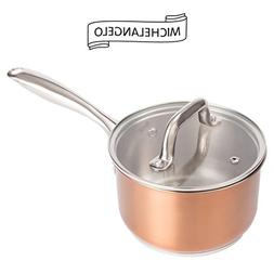 MICHELANGELO 2 Quart Saucepan with Lid Rose Gold, Stainless
