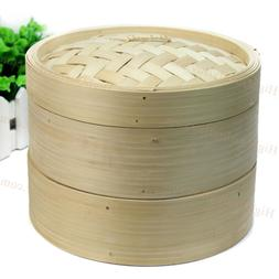 2 Tier Durable Cookware Bamboo Steamer Chinese Kitchen Cookw