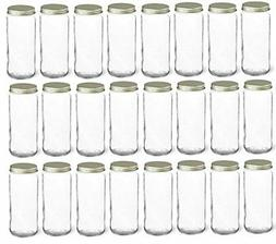 Nakpunar 24 pcs 8 oz Glass Canning Jars with Gold Lid - Half