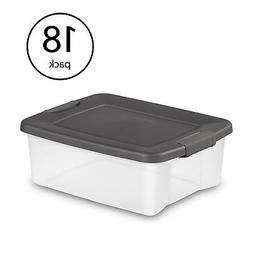 Sterilite 25 Quart Shelf Tote with Flat Gray Lid and Platinu