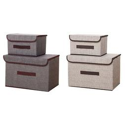 2Pcs Storage Boxes with Lids Fabric Clear Storage Baskets Co