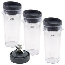 3 Pack 16 oz Cup with Lid and Extractor Blade 307KKU for Nut