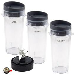 3 Pack 16 oz Cup with Lid + Blade Assembly for Nutri Ninja B