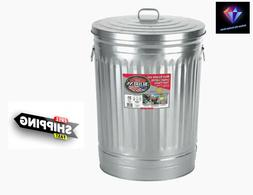 31-Gallon Silver/Galvanized Metal Trash Can with Lid