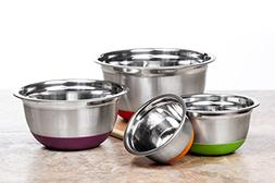 4 Pc Chef Quality Stainless Steel Mixing Bowls w/ Colorful S