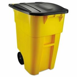 50 Gallon Yellow Commercial Heavy-Duty Trash Can with Black