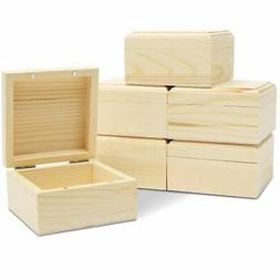 6 Pack Unfinished Natural Wooden Boxes with Hinged Lid for J