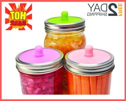6-Pack Waterless Airlock Fermentation Lids for Wide Mouth Ma