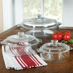 6-Piece Round Glass Casserole Cookware Bakeware Set with Lid