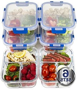 LARGE Premium 6 Sets 3 Compartment Glass Meal Prep Containe