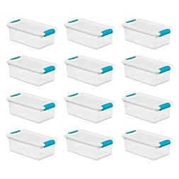 Sterilite 6-Quart Clear and Blue Stackable Latching Storage