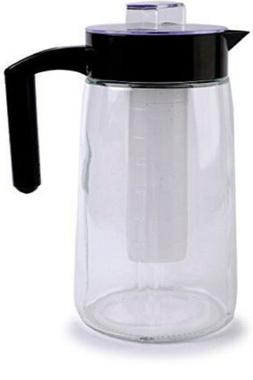Circleware 66554 H2O Glass Carafe Water Pitcher with Lid, Ha