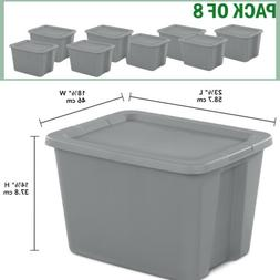8 Plastic Storage Containers Box Sterilite 18-Gallon Stackab