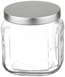 Anchor Hocking 16-Ounce Glass Cracker Jar with Brushed Alumi