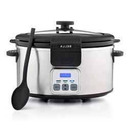 BELLA 6 Quart Programmable Locking Lid Slow Cooker, Stainles