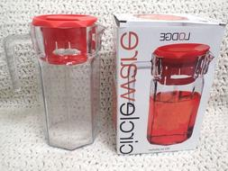 Circleware Lodge Glass Beverage Drink Pitcher with Plastic L