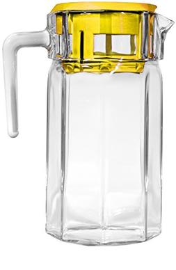 Circleware Lodge Glass Beverage Drink Pitcher with Yellow Pl