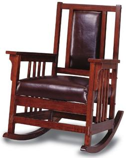 Coaster Mission Style Rocking Wood and Leather Chair Rocker,