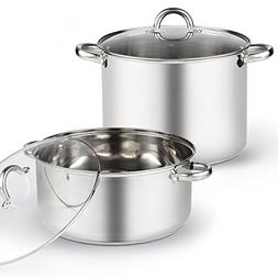 Cook N Home 4-Piece 13 Quart High and Wide Low Stockpots wit