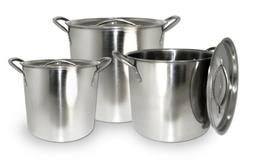 ExcelSteel 570 Stainless Steel Stockpot with Lids, Set of 3,