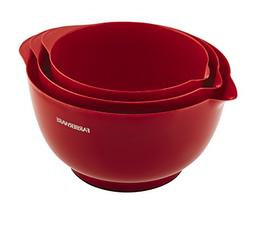 Farberware Classic Plastic Mixing Bowls, Red Set of 3