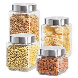 Oggi 4 Piece Square Glass Canister Set with Stainless Steel
