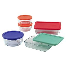 Pyrex Simply Store Glass Food Container Set with Multi-Color